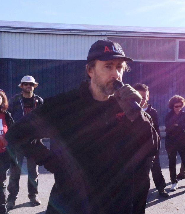 Jean-Pierre Garrigues à la manif de Rodhilan en Octobre 2015