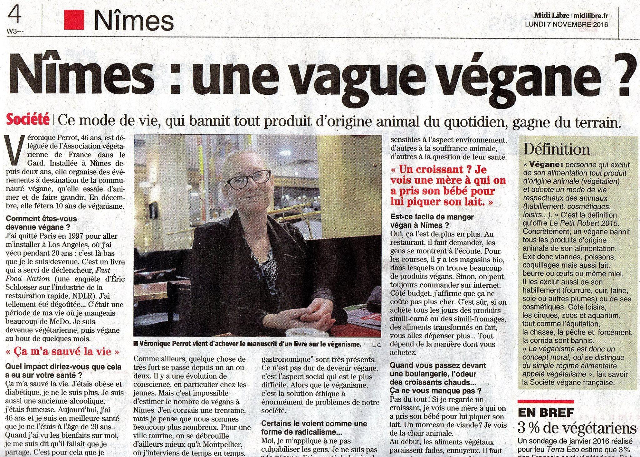 Midi Libre 7 Nov 2016 Végans 1