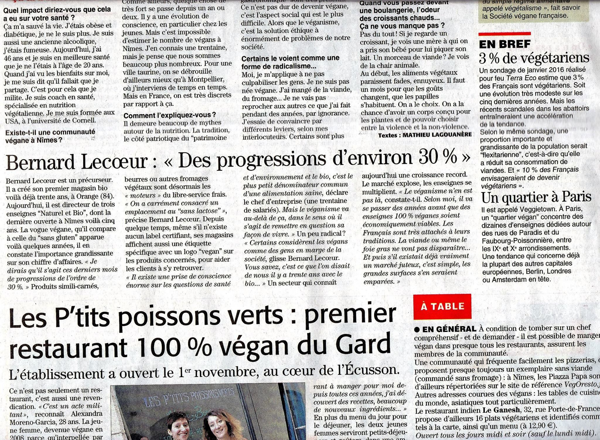 Midi Libre 7 Nov 2016 Végans 2