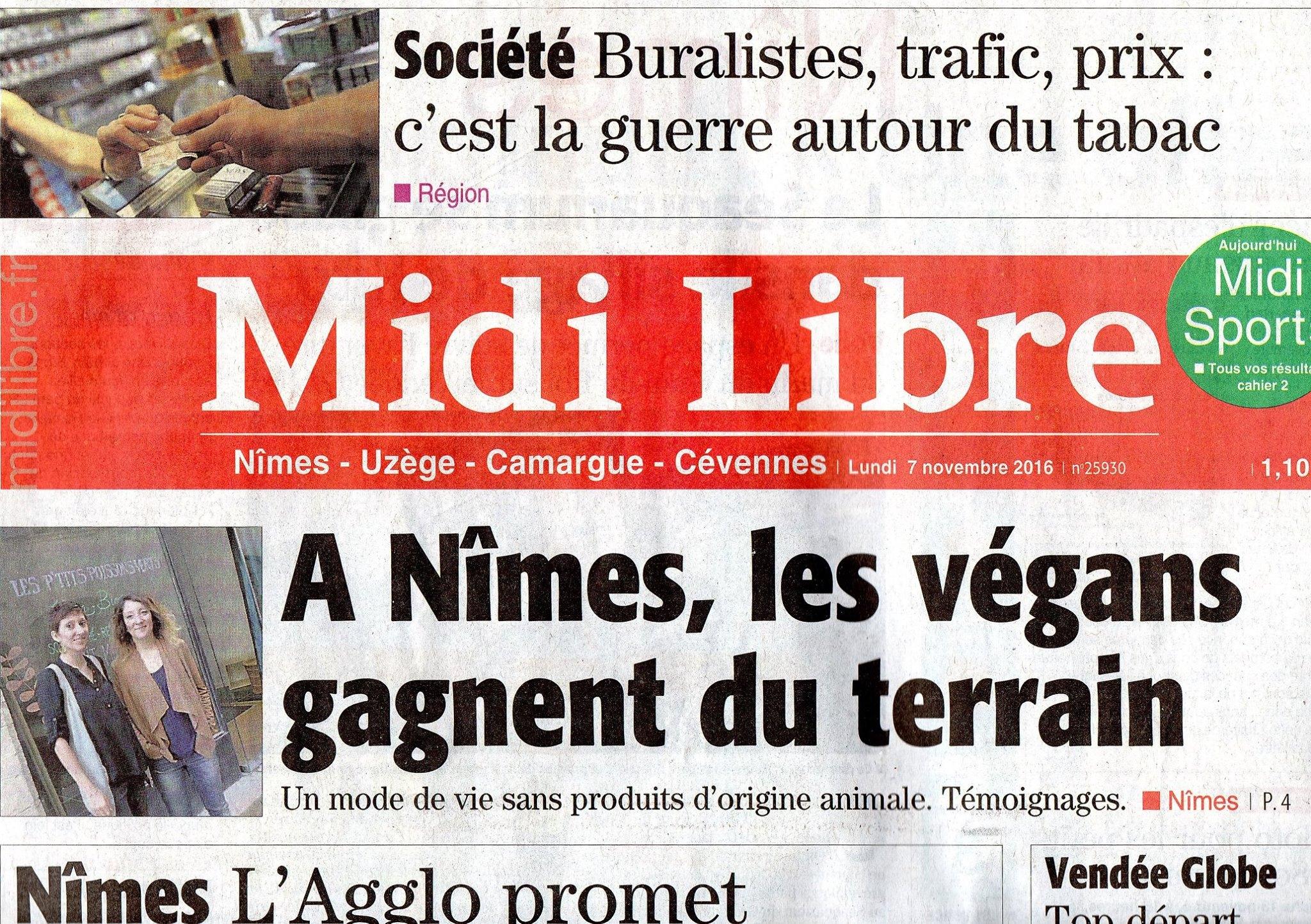 Midi Libre 7 Nov 2016 Végans